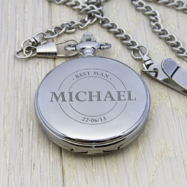 Personalised Groomsman Emblem Pocket Watch - Silver